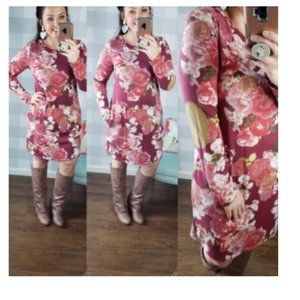 Floral Dress with Patches on Elbows & Pockets!